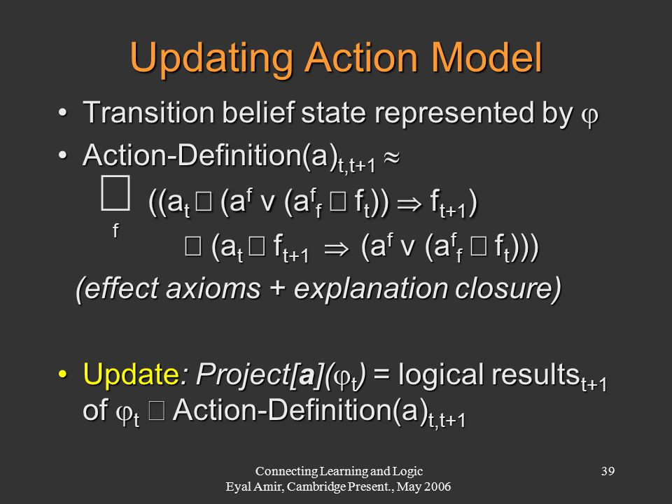 Connecting Learning and Logic Eyal Amir, Cambridge Present., May 2006 39 Updating Action Model Transition belief state represented by Transition belief state represented by  Action-Definition(a) t,t+1 Action-Definition(a) t,t+1   ((a t  (a f v (a f f  f t ))  f t+1 )   ((a t  (a f v (a f f  f t ))  f t+1 )  f  (a t  f t+1  (a f v (a f f  f t ))) (effect axioms + explanation closure) (effect axioms + explanation closure) Update: Project[a](  t ) = logical results t+1 of  t  Action-Definition(a) t,t+1Update: Project[a](  t ) = logical results t+1 of  t  Action-Definition(a) t,t+1