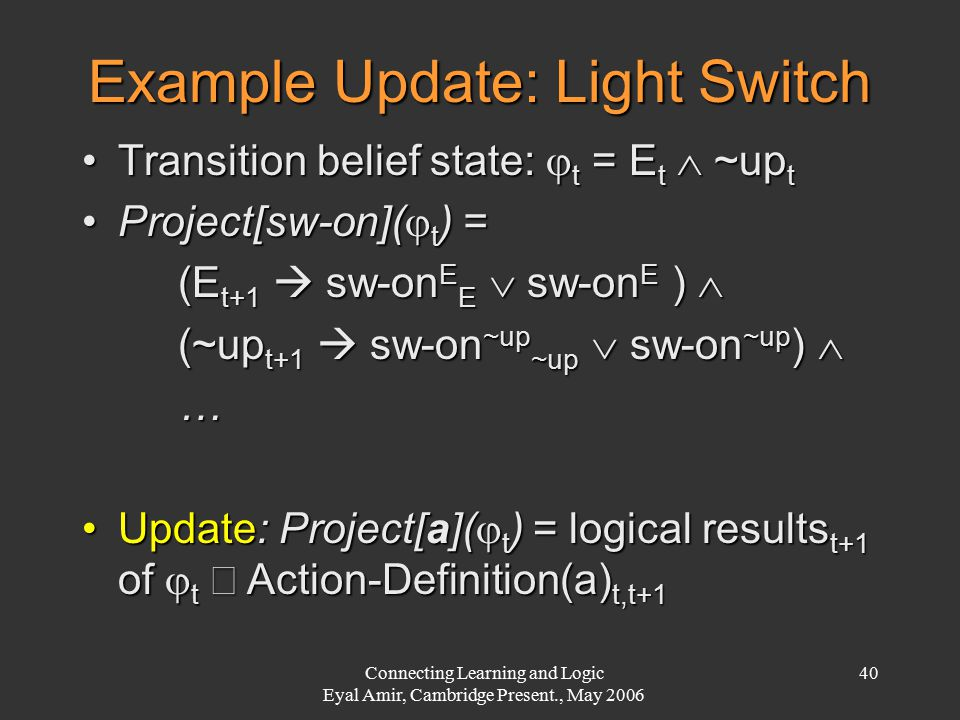 Connecting Learning and Logic Eyal Amir, Cambridge Present., May 2006 40 Example Update: Light Switch Transition belief state:  t = E t  ~up tTransi