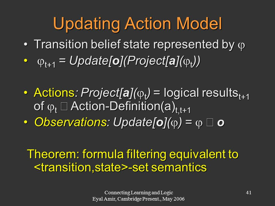 Connecting Learning and Logic Eyal Amir, Cambridge Present., May 2006 41 Updating Action Model Transition belief state represented by Transition belief state represented by   t+1 = Update[o](Project[a](  t ))  t+1 = Update[o](Project[a](  t )) Actions: Project[a](  t ) = logical results t+1 of  t  Action-Definition(a) t,t+1Actions: Project[a](  t ) = logical results t+1 of  t  Action-Definition(a) t,t+1 Observations: Update[o](  ) =   oObservations: Update[o](  ) =   o Theorem: formula filtering equivalent to -set semantics Theorem: formula filtering equivalent to -set semantics