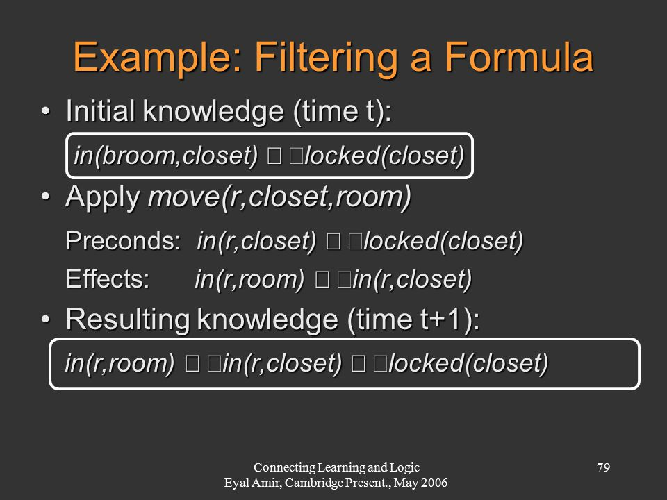 Connecting Learning and Logic Eyal Amir, Cambridge Present., May 2006 79 Example: Filtering a Formula Initial knowledge (time t):Initial knowledge (ti