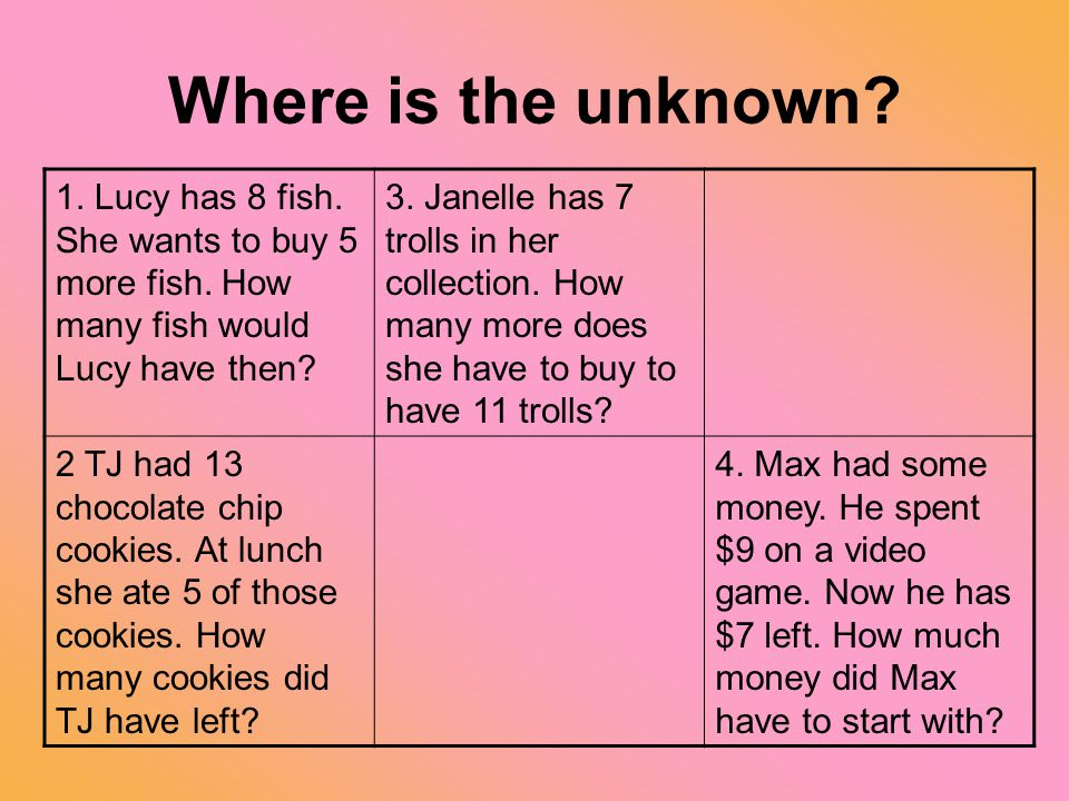 Where is the unknown? 1. Lucy has 8 fish. She wants to buy 5 more fish. How many fish would Lucy have then? 3. Janelle has 7 trolls in her collection.
