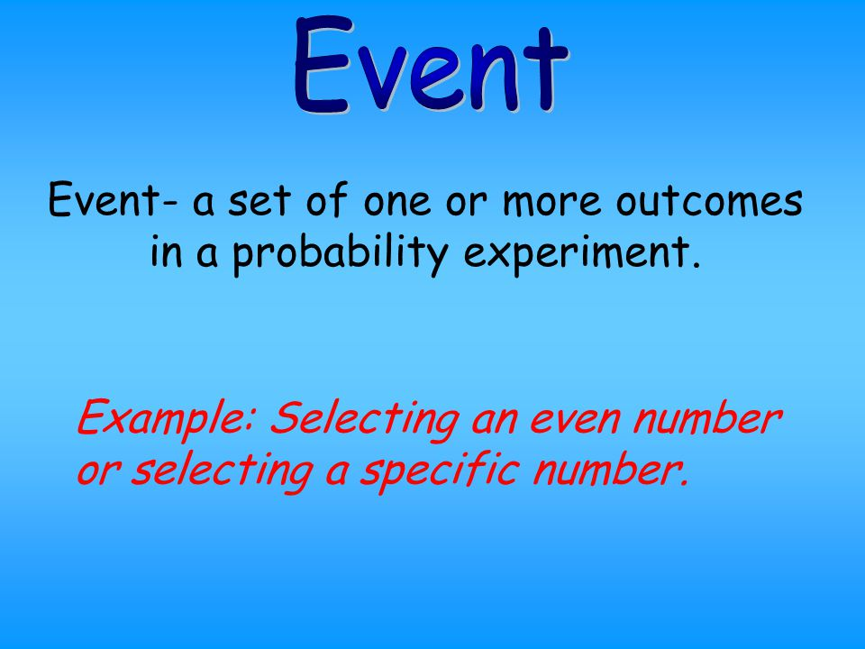 Event- a set of one or more outcomes in a probability experiment.