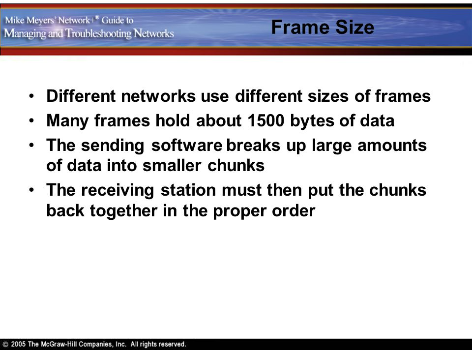 Frame Size Different networks use different sizes of frames Many frames hold about 1500 bytes of data The sending software breaks up large amounts of