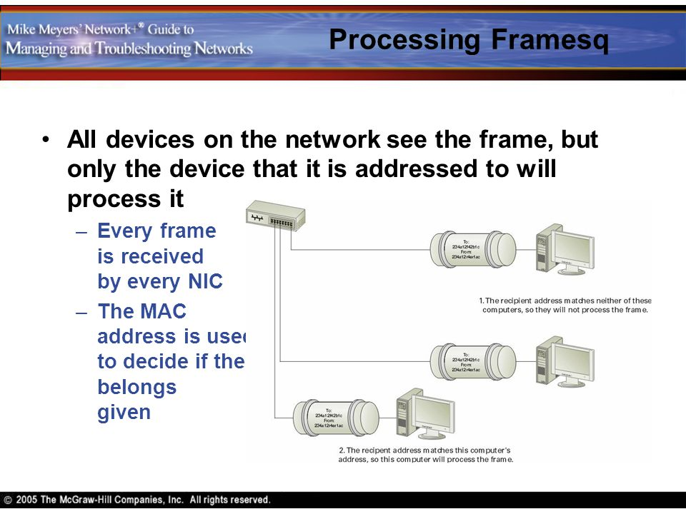 Processing Framesq All devices on the network see the frame, but only the device that it is addressed to will process it –Every frame is received by e