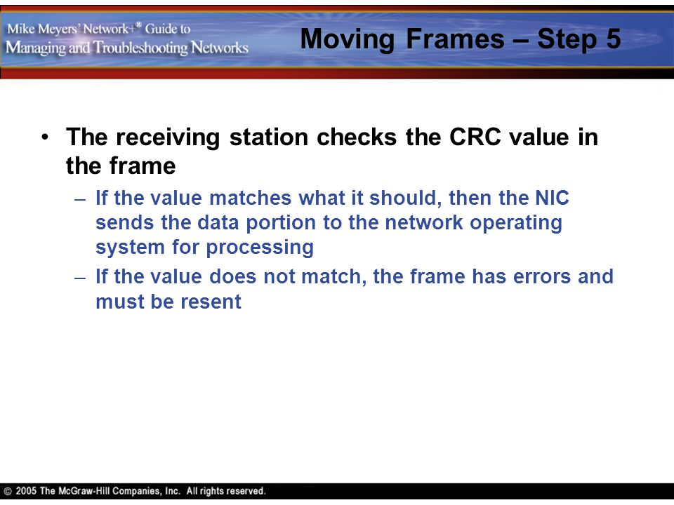 Moving Frames – Step 5 The receiving station checks the CRC value in the frame –If the value matches what it should, then the NIC sends the data porti