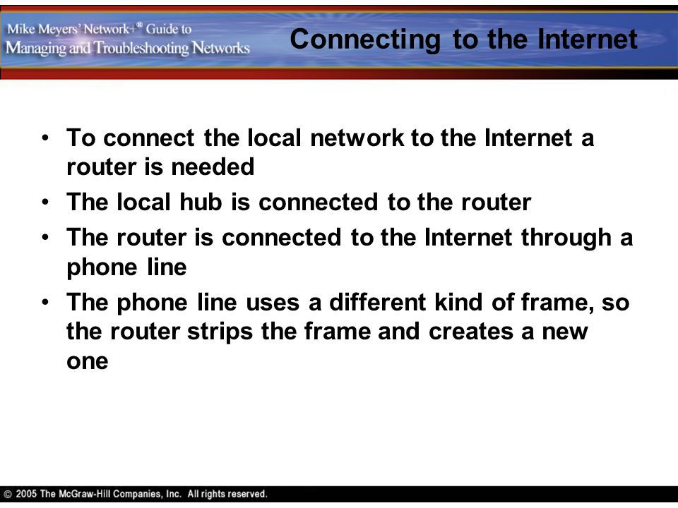 Connecting to the Internet To connect the local network to the Internet a router is needed The local hub is connected to the router The router is conn