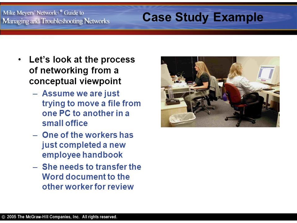 Case Study Example Let's look at the process of networking from a conceptual viewpoint –Assume we are just trying to move a file from one PC to anothe