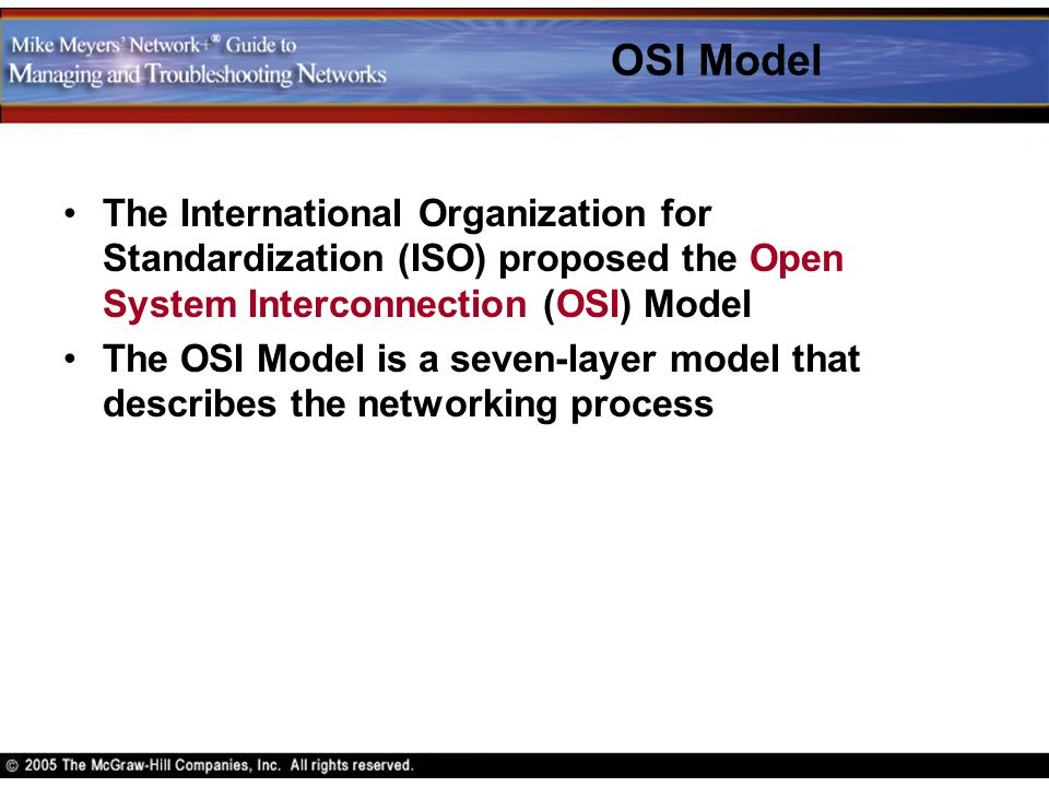 OSI Model The International Organization for Standardization (ISO) proposed the Open System Interconnection (OSI) Model The OSI Model is a seven-layer