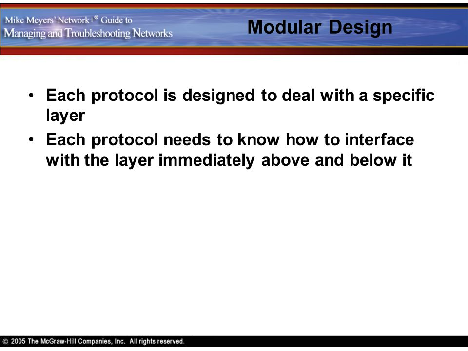 Modular Design Each protocol is designed to deal with a specific layer Each protocol needs to know how to interface with the layer immediately above a