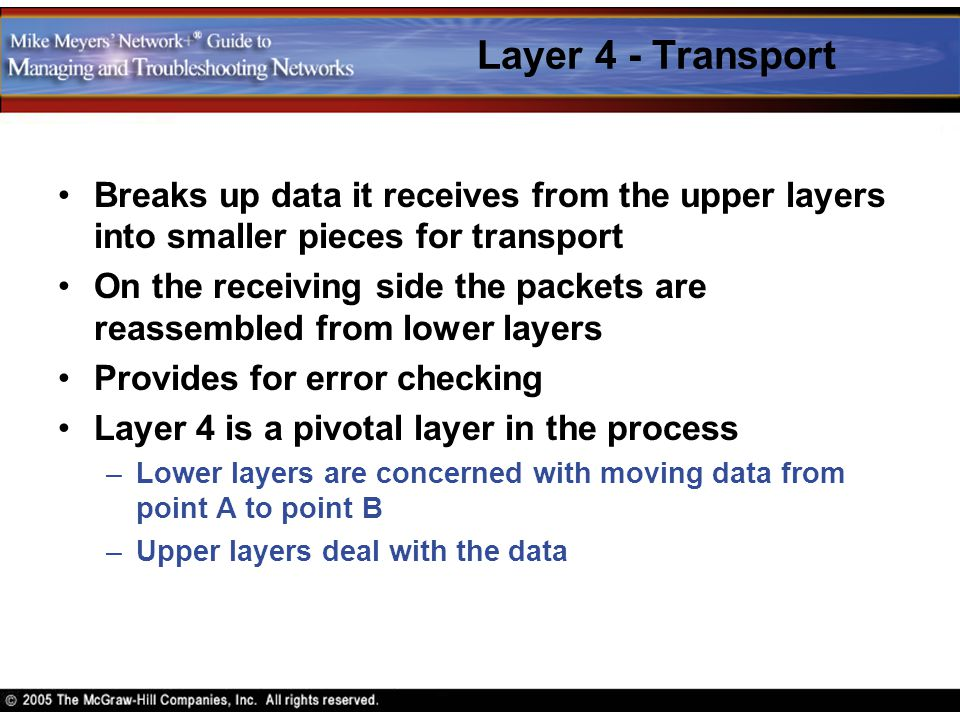 Layer 4 - Transport Breaks up data it receives from the upper layers into smaller pieces for transport On the receiving side the packets are reassembl