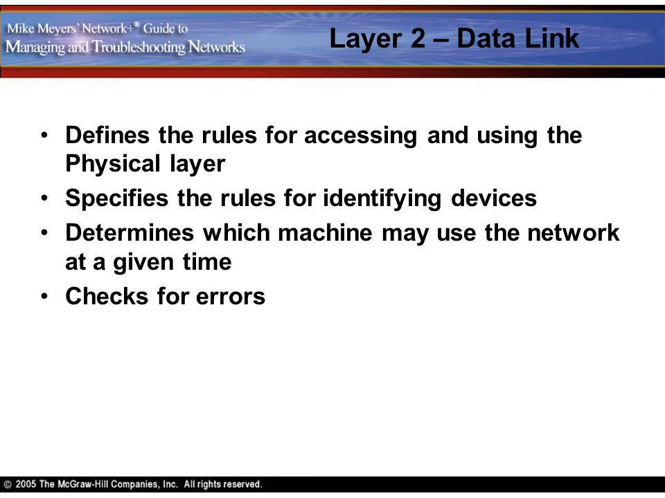 Layer 2 – Data Link Defines the rules for accessing and using the Physical layer Specifies the rules for identifying devices Determines which machine