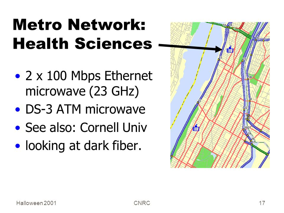 Halloween 2001CNRC17 Metro Network: Health Sciences 2 x 100 Mbps Ethernet microwave (23 GHz) DS-3 ATM microwave See also: Cornell Univ looking at dark fiber.