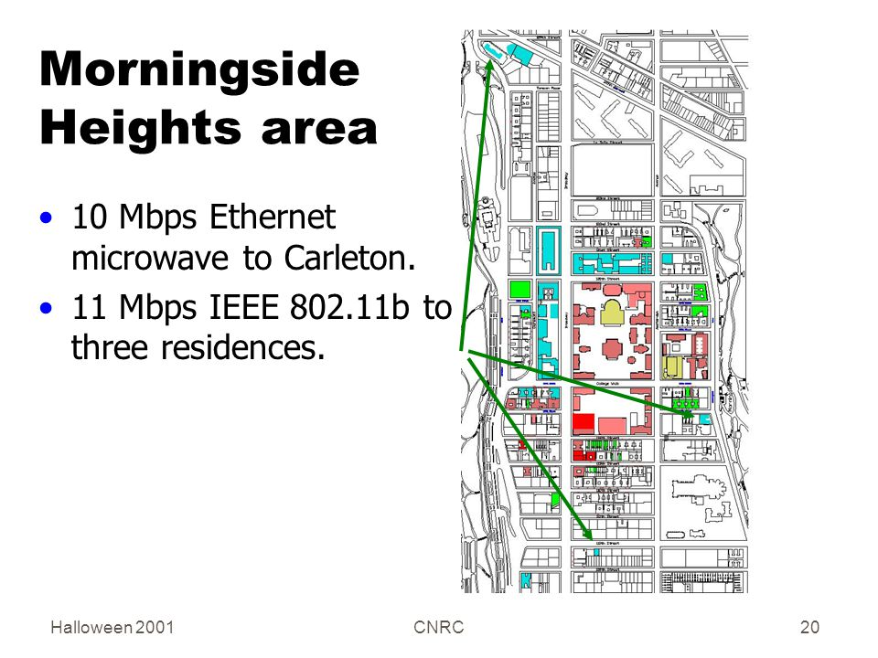 Halloween 2001CNRC20 Morningside Heights area 10 Mbps Ethernet microwave to Carleton.