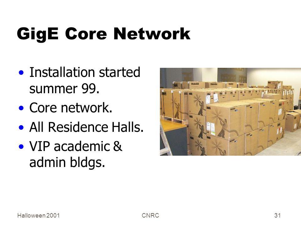 Halloween 2001CNRC31 GigE Core Network Installation started summer 99.