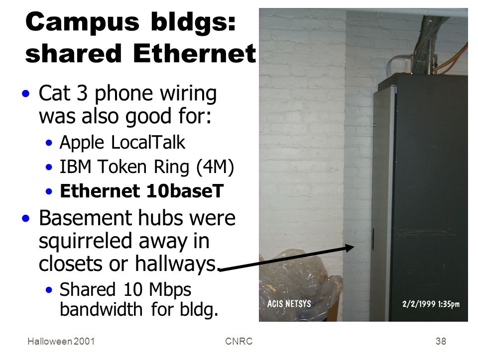 Halloween 2001CNRC38 Campus bldgs: shared Ethernet Cat 3 phone wiring was also good for: Apple LocalTalk IBM Token Ring (4M) Ethernet 10baseT Basement hubs were squirreled away in closets or hallways.