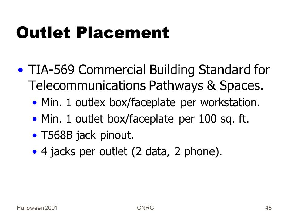 Halloween 2001CNRC45 Outlet Placement TIA-569 Commercial Building Standard for Telecommunications Pathways & Spaces.