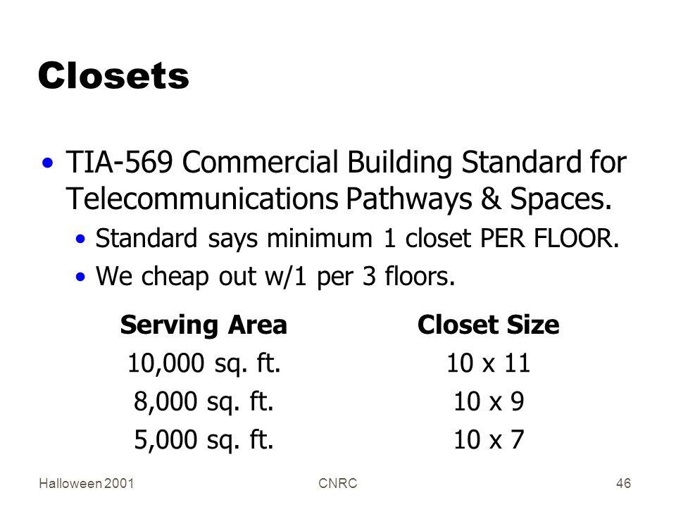 Halloween 2001CNRC46 Closets TIA-569 Commercial Building Standard for Telecommunications Pathways & Spaces. Standard says minimum 1 closet PER FLOOR.