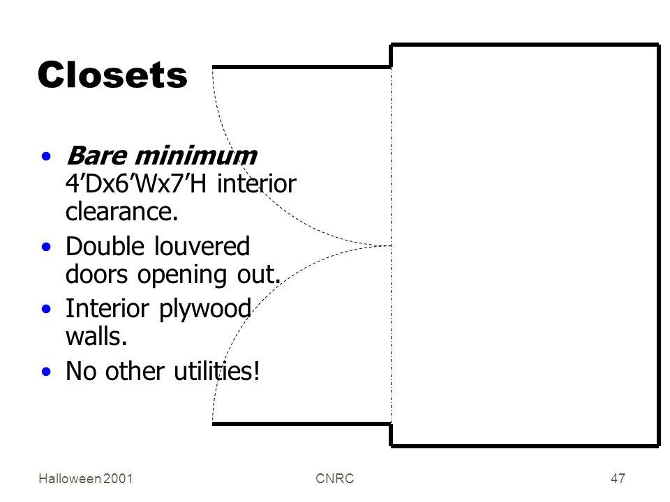 Halloween 2001CNRC47 Closets Bare minimum 4'Dx6'Wx7'H interior clearance.