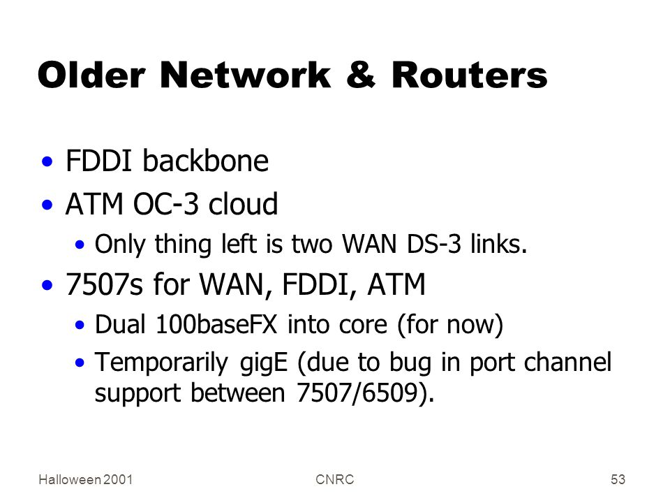 Halloween 2001CNRC53 Older Network & Routers FDDI backbone ATM OC-3 cloud Only thing left is two WAN DS-3 links. 7507s for WAN, FDDI, ATM Dual 100base