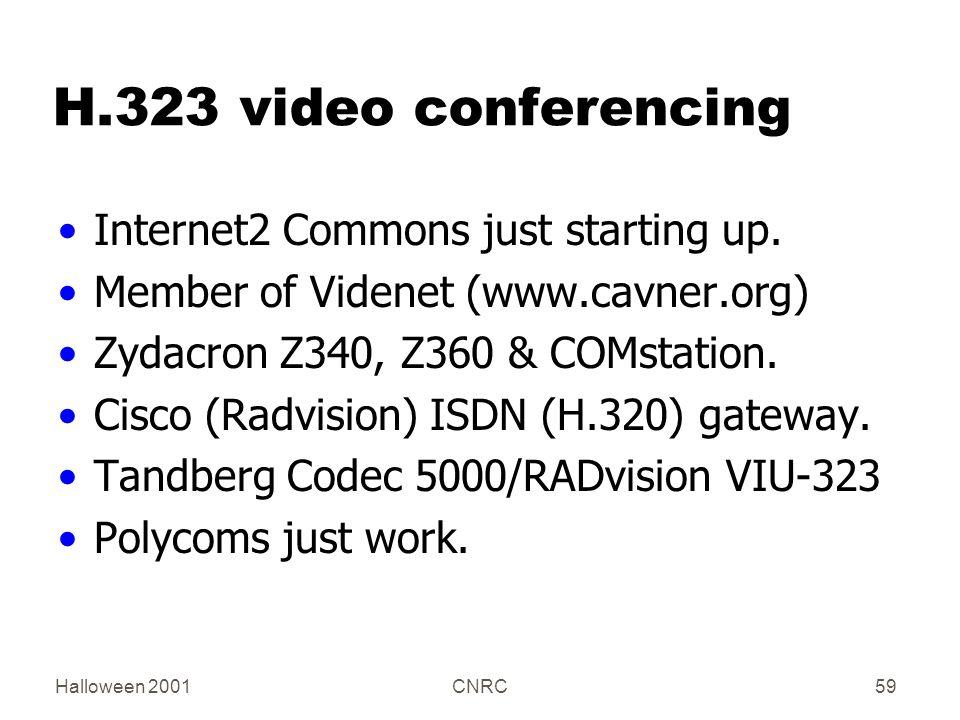 Halloween 2001CNRC59 H.323 video conferencing Internet2 Commons just starting up. Member of Videnet (www.cavner.org) Zydacron Z340, Z360 & COMstation.