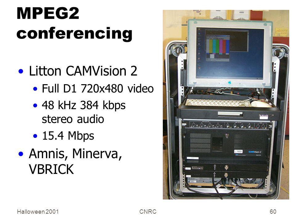 Halloween 2001CNRC60 MPEG2 conferencing Litton CAMVision 2 Full D1 720x480 video 48 kHz 384 kbps stereo audio 15.4 Mbps Amnis, Minerva, VBRICK
