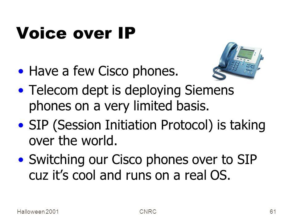 Halloween 2001CNRC61 Voice over IP Have a few Cisco phones.