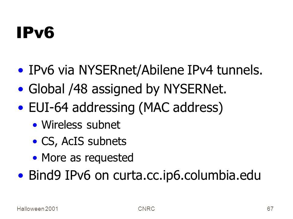Halloween 2001CNRC67 IPv6 IPv6 via NYSERnet/Abilene IPv4 tunnels.