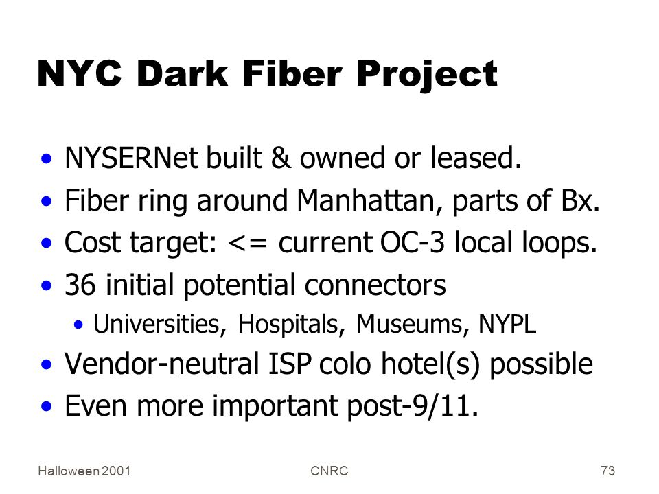 Halloween 2001CNRC73 NYC Dark Fiber Project NYSERNet built & owned or leased.