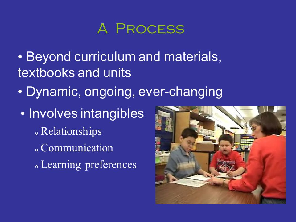 A Process Beyond curriculum and materials, textbooks and units Dynamic, ongoing, ever-changing Involves intangibles o Relationships o Communication o Learning preferences