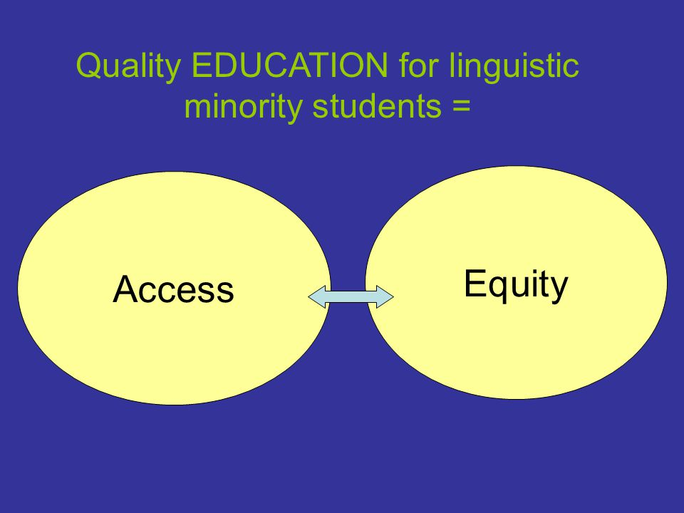 Access Equity Quality EDUCATION for linguistic minority students =