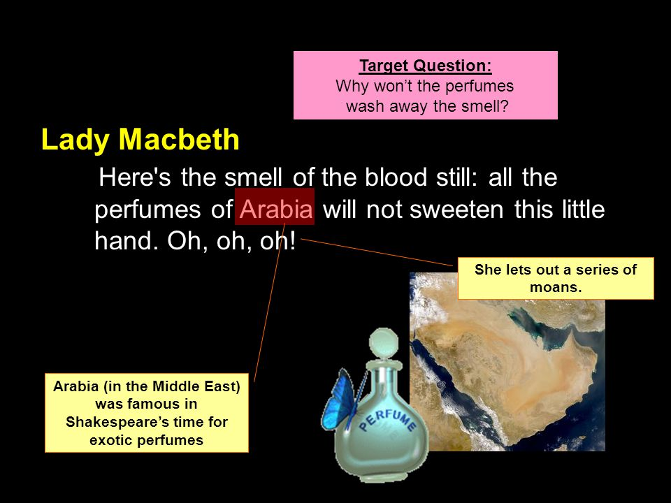 Lady Macbeth Here s the smell of the blood still: all the perfumes of Arabia will not sweeten this little hand.