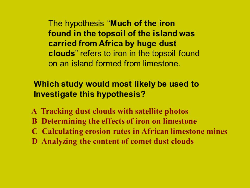 "The hypothesis ""Much of the iron found in the topsoil of the island was carried from Africa by huge dust clouds"" refers to iron in the topsoil found o"