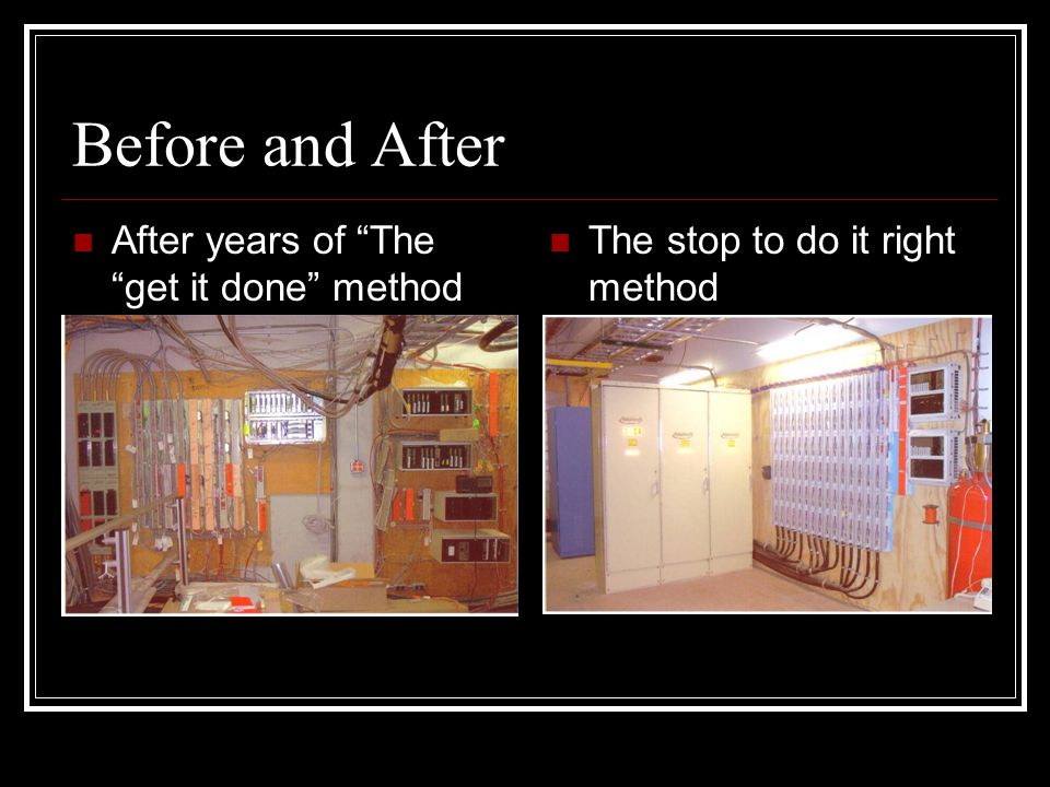 Before and After After years of The get it done method The stop to do it right method