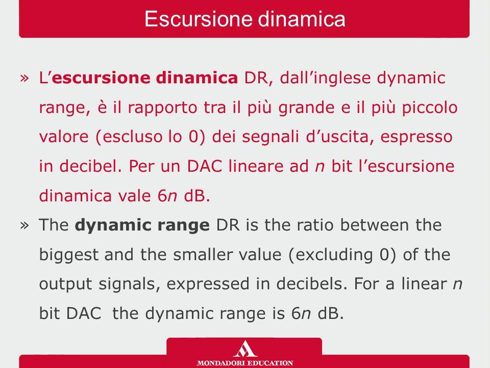 »L'escursione dinamica DR, dall'inglese dynamic range, è il rapporto tra il più grande e il più piccolo valore (escluso lo 0) dei segnali d'uscita, espresso in decibel.