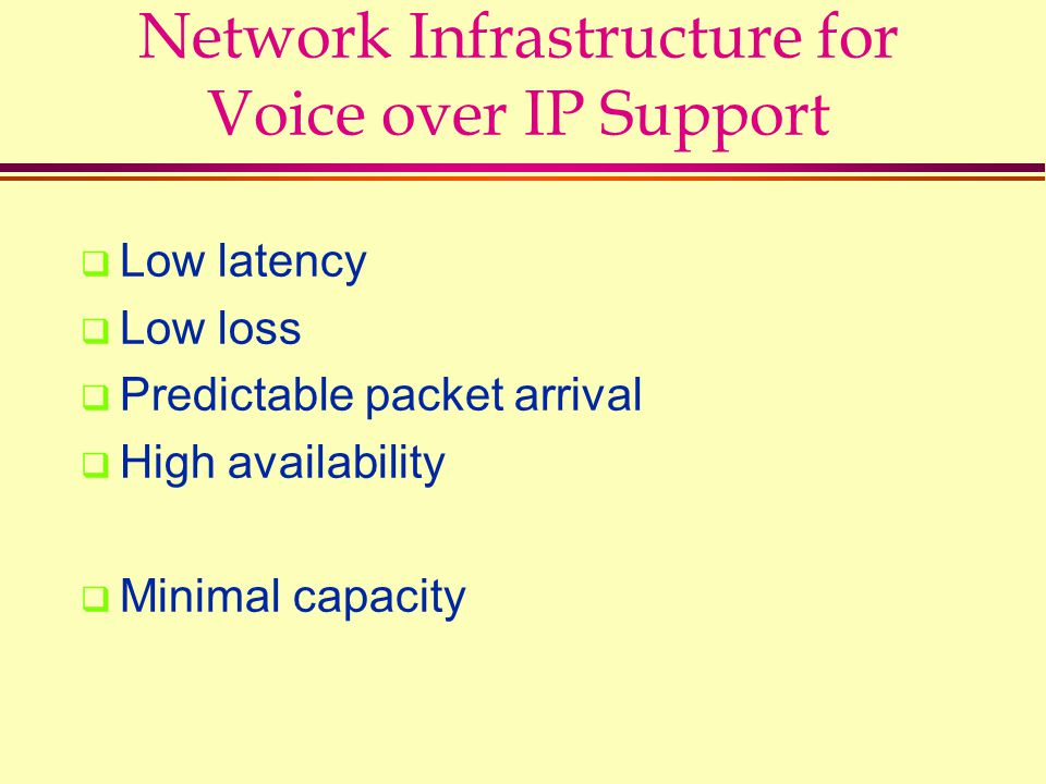 Network Infrastructure for Voice over IP Support  Low latency  Low loss  Predictable packet arrival  High availability  Minimal capacity