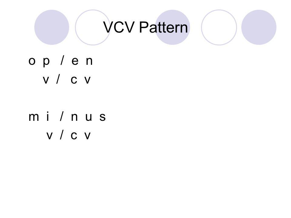VCV Pattern o p / e n v / c v m i / n u s v / c v