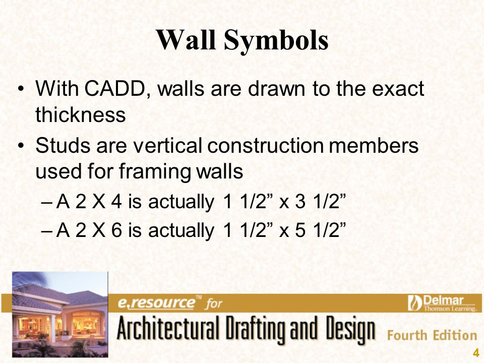 4 Wall Symbols With CADD, walls are drawn to the exact thickness Studs are vertical construction members used for framing walls –A 2 X 4 is actually 1