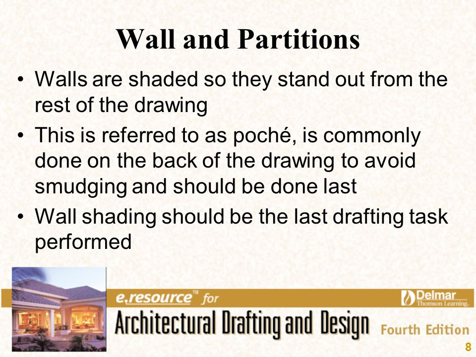 8 Wall and Partitions Walls are shaded so they stand out from the rest of the drawing This is referred to as poché, is commonly done on the back of th