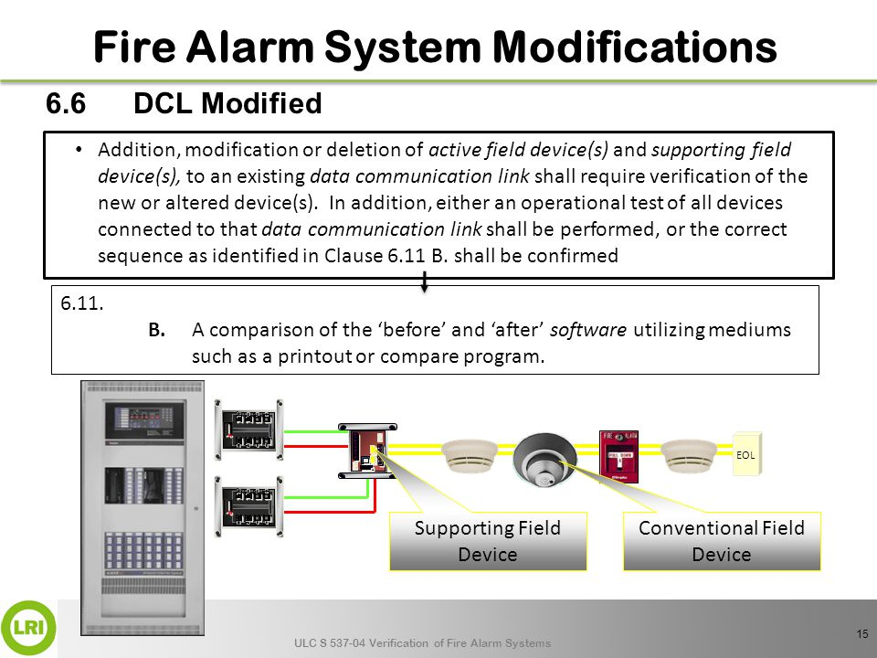 ULC S 537-04 Verification of Fire Alarm Systems Addition, modification or deletion of active field device(s) and supporting field device(s), to an existing data communication link shall require verification of the new or altered device(s).