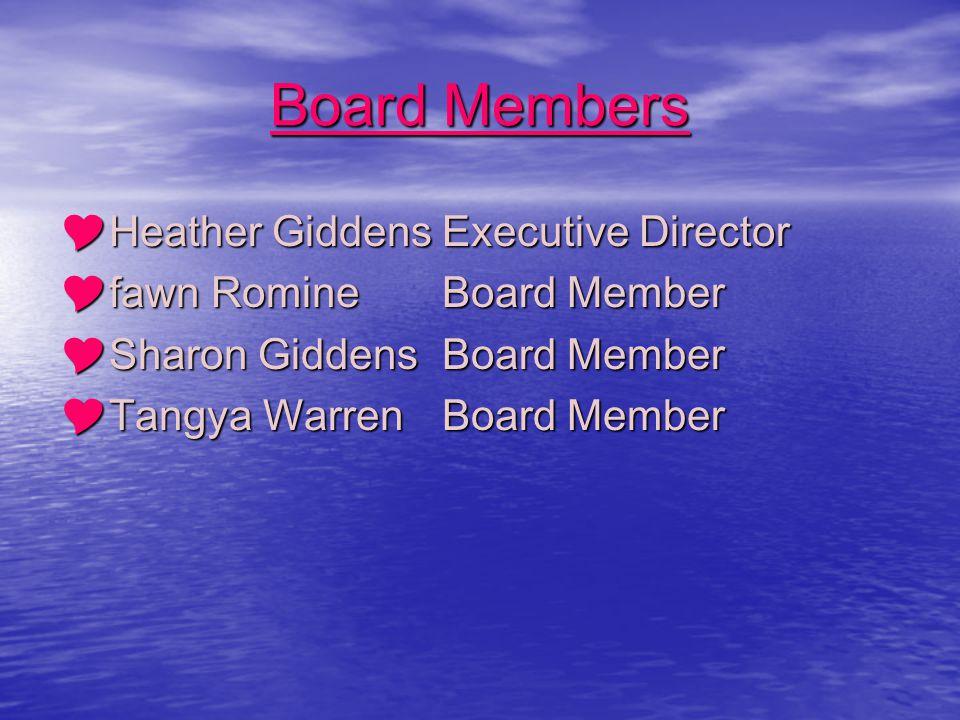 Board Members  Heather GiddensExecutive Director  fawn Romine Board Member  Sharon GiddensBoard Member  Tangya WarrenBoard Member