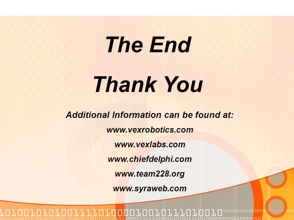 The End Thank You Additional Information can be found at: www.vexrobotics.com www.vexlabs.com www.chiefdelphi.com www.team228.org www.syraweb.com
