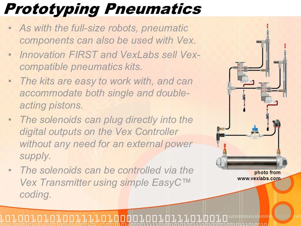 Prototyping Manipulators Using Vex components, a wide range of arms, elevators, and manipulators may be built.
