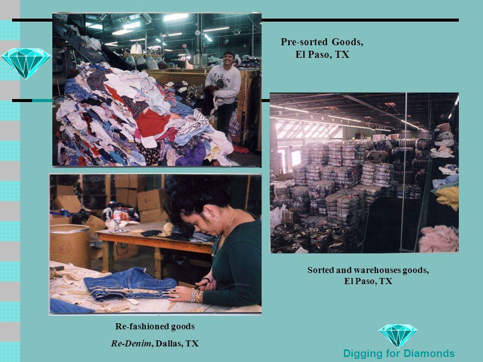 Digging for Diamonds Pre-sorted Goods, El Paso, TX Sorted and warehouses goods, El Paso, TX Re-fashioned goods Re-Denim, Dallas, TX