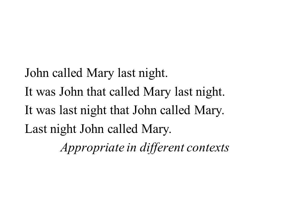 John called Mary last night. It was John that called Mary last night. It was last night that John called Mary. Last night John called Mary. Appropriat