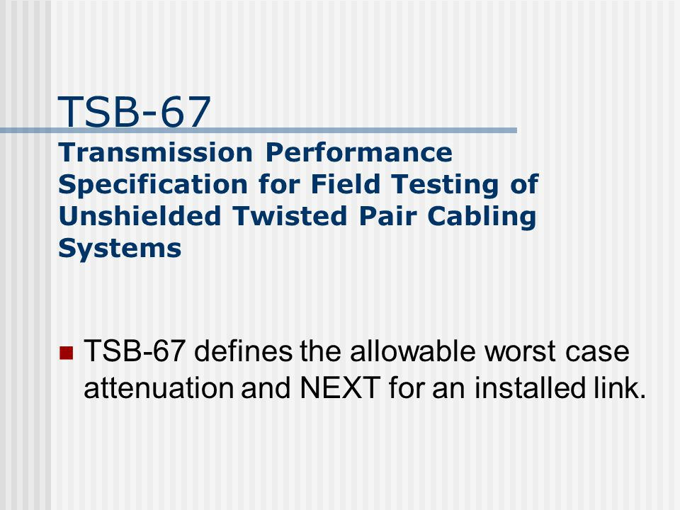 Scope of the TIA/EIA-568A Standard Minimum requirements for telecommunications cabling within an office environment Recommended topology and distances Media parameters which determine performance Connector and pin assignments to ensure inter-connectability The useful life of telecommunications cabling systems as being in excess of ten years