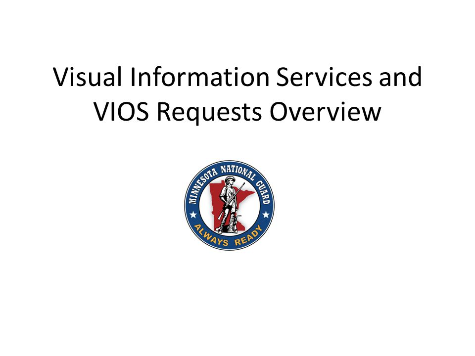 The Minnesota National Guard Visual Information (VI) mission is to acquire and provide the Adjutant General, Joint Staff (JS), military departments and commanders with record documentation, multimedia/VI products and services to satisfy official requirements for military events and activities.