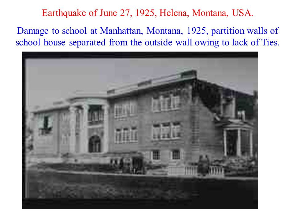 Earthquake of June 27, 1925, Helena, Montana, USA. Damage to school at Manhattan, Montana, 1925, partition walls of school house separated from the ou