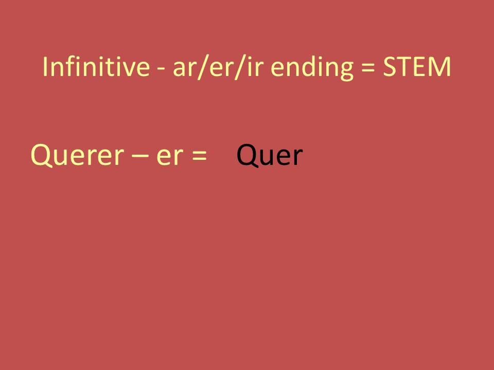 Infinitive - ar/er/ir ending = STEM Querer – er =Quer