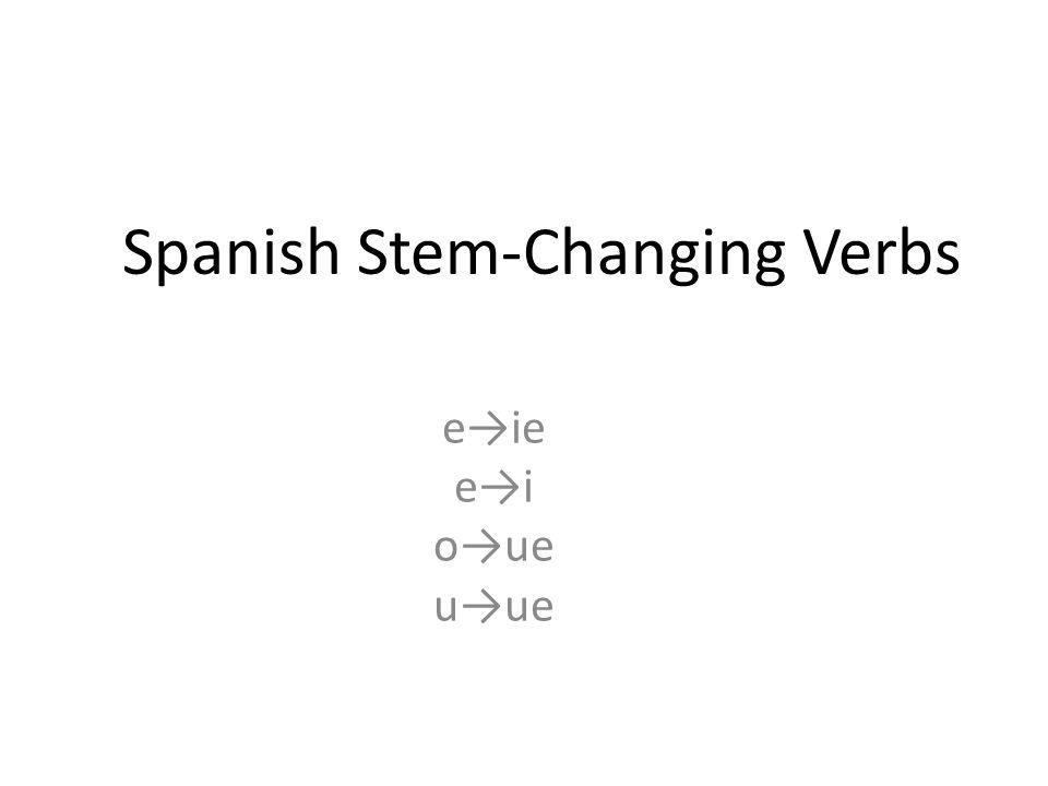 Spanish Stem-Changing Verbs e→ie e→i o→ue u→ue