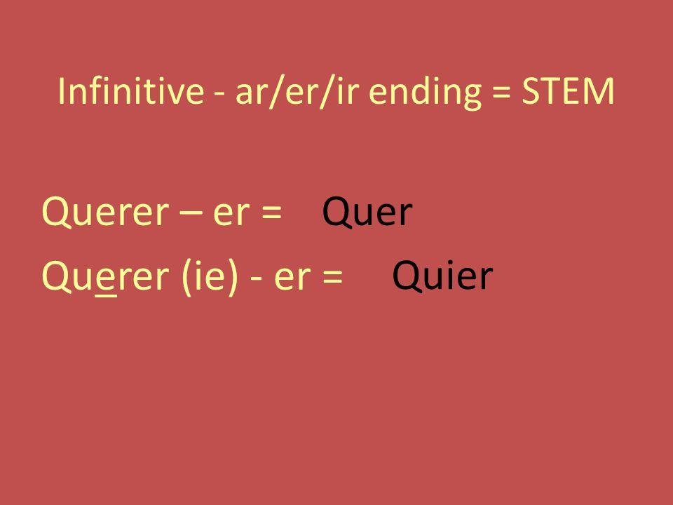 Infinitive - ar/er/ir ending = STEM Querer – er = Querer (ie) - er = Quer Quier